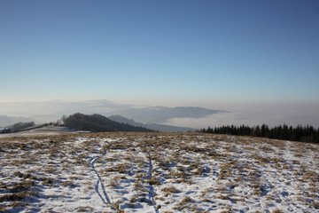 Winter view on landscape from hills of Valachia, Czech Republic