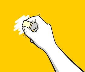 Hand using eraser