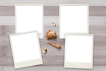 Snapshots templates arranged on rustic wooden background with seashells around