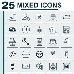 Set Of 25 Universal Editable Icons. Can Be Used For Web, Mobile And App Design. Includes Elements Such As Note Page, Chicken Fry, Gardening Shoes And More.