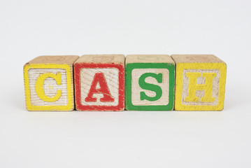The Word Cash in Wooden Childrens Blocks