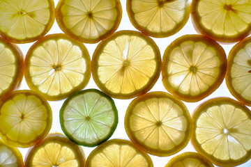 Clices of lemons + lime.
