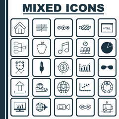 Set Of 25 Universal Editable Icons. Can Be Used For Web, Mobile And App Design. Includes Elements Such As Send Data, Garland , Market Research.