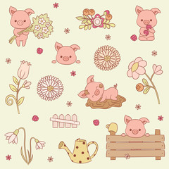 Pigs vector icons set