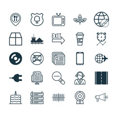 Set Of 25 Universal Editable Icons. Can Be Used For Web, Mobile And App Design. Includes Elements Such As Cargo Boat, Photo Camera, Connectivity And More.