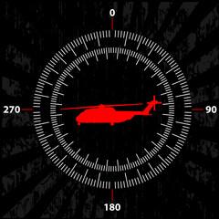 Print вертолет в центре круговой шкалы измерения скорости и высоты
