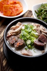 Sundae-gukbap.  Korean Sausage and Rice Soup.