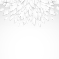 Eco background with paper plastic white leaves.
