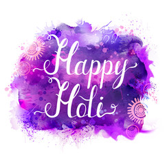 Holi festival vector banner with white lettering on purple, violet, lilac and blue watercolor stains. Abstract bright background for Indian holiday.