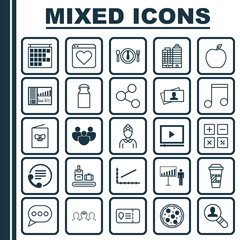 Set Of 25 Universal Editable Icons. Can Be Used For Web, Mobile And App Design. Includes Elements Such As Telephone, Team, Hostess And More.