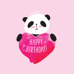 Greeting card with little cute panda and pink heart. Happy Birthday. Doodles, sketch for your design. Vector illustration