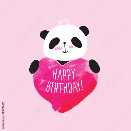 Greeting card with little cute panda and pink heart happy birthday greeting card with little cute panda and pink heart happy birthday doodles sketch bookmarktalkfo Choice Image