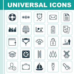 Set Of 25 Universal Editable Icons. Can Be Used For Web, Mobile And App Design. Includes Elements Such As Blog Page, Open Cardboard, Decision Making And More.