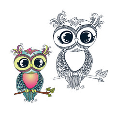 Cute colorful cartoon owl sitting on tree branch