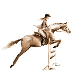 Sepia watercolor rider girl and horse, jumping a hurdle on white. Horseman at jumping competition. England equestrian sport. Hand drawing illustration