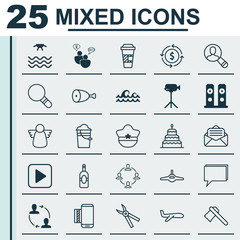 Set Of 25 Universal Editable Icons. Can Be Used For Web, Mobile And App Design. Includes Elements Such As Start Song, Takeaway Coffee, Tomahawk And More.