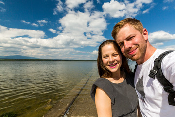 Couple at the Orava Barrier Lake in Slovakia