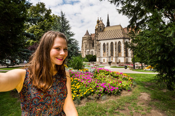 Girl in the park in front of the St. Elisabeth Cathedral in Kosice