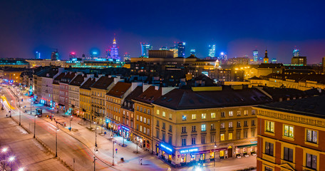 Krakowskie Przedmiescie street at night, part of the Royal Route in the city of Warsaw, Poland.