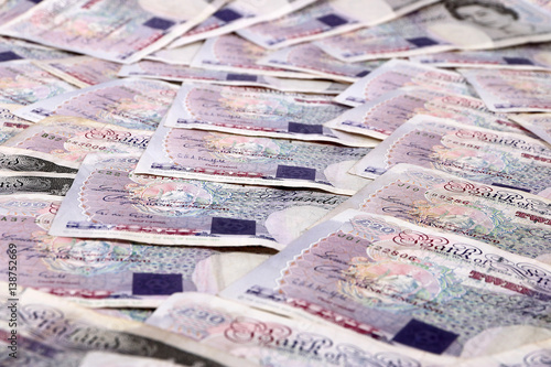 Paper Notes British Pounds On The Table As A Symbol Of Success And