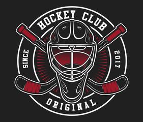 Hockey helmet with sticks