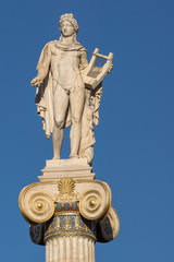 Apollo statue in front of Academy of Athens, Attica, Greece