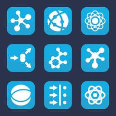 Set of 9 filled particle icons