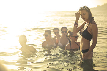 Group of girls in the water