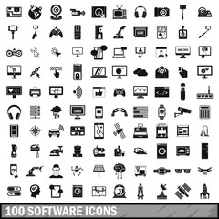 100 software icons set in simple style