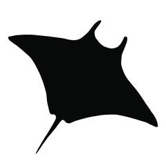 Vector stingray silhouette, ray fish illustration. Animal in the wild - hand drawn sketch, marine life swimming animal