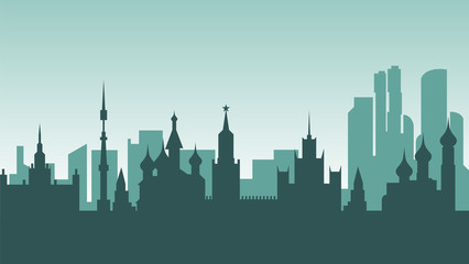 Russia silhouette architecture buildings town city country travel