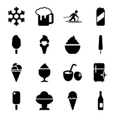 Set of 16 cold filled icons