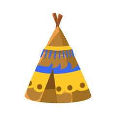 Decorated Wigwam Hut, Native American Indian Culture Symbol, Ethnic Object From North America Isolated Icon