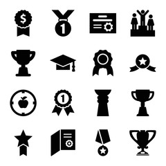 Set of 16 achievement filled icons