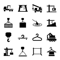 Set of 16 hook filled icons