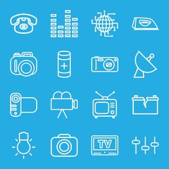 Set of 16 electronics outline icons