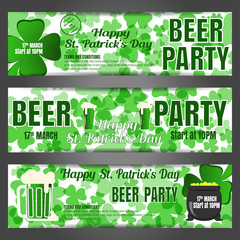 Happy St. Patrick's Day beer party vector banners on the white background with green leaves of clover, text, goblets of beer and cauldron.