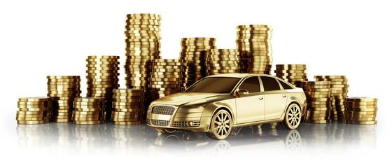 Goldenes Auto mit Münzstapeln