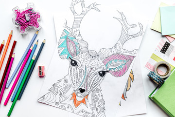 coloring picture for adults on stone background top view