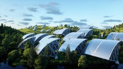 solar panels in wonderfull landscape. Future. 3d rendering.