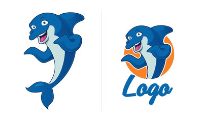 Dolphin vector mascot and logo design