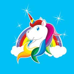 Unicorn Cartoon Vector and The Rainbow