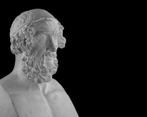 White plaster statue bust of the philosopher Homer