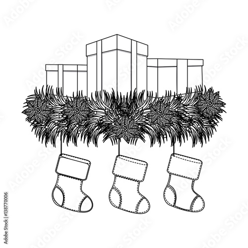 Figure boxes with fir and christmas boots icon vector illustraction de - Figure libre architecture ...