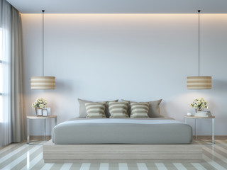Modern white bedroom minimal style 3D rendering Image.There white empty wall.Decorate room with light tone color and hidden light on ceiling