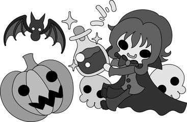 Halloween and jack-o-lanterns and a pretty vampire
