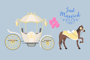 Fairy tale vintage carriage decoration with cute fashion horse royal element and princess retro wedding coach with classic elegant accessory vector illustration.