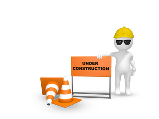 3D render of a construction worker with an Under Construction signage and a couple cones
