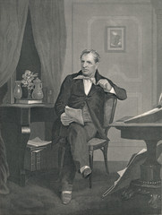 James Fenimore Cooper - American Writer. Steel Engraving 1864.