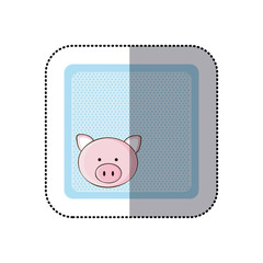 sticker colorful greeting card with picture pig animal vector illustration
